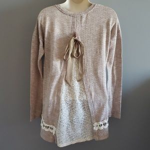 Altar'd State boho tan and cream lace detail sweat